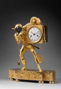 "Rare Gilt Bronze Empire Mantel Clock ""Harlequin,"" Case Attributed to Thomire 