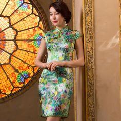Elegant Green Real Silk Flower Print Bodycon Modern Chinese Qipao Dress - iDreamMart.com