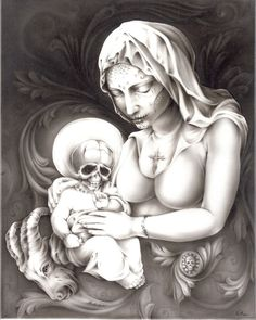 Mother Mary by Eric Quezada Baby Jesus Tattoo Canvas Fine Art Print