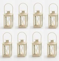 Cream Tea Light Lantern-Light Up LED Tea Light Lantern-Wedding Candle Lantern   eBay