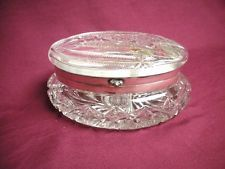 Antique ABP Cut Crystal Glass Box Oval Hinged Jewelry Trinket Dresser Old