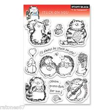 New Penny Black STUCK ON YOU Clear Stamps Critters Love Valentine's Cat Hedgehog