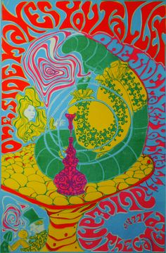 "psychedelic-sixties: ""Alice In Wonderland Poster 1967 "" Rock Posters, Band Posters, Concert Posters, Psychedelic Rock, Psychedelic Posters, Hippie Posters, Art Pop, Alice In Wonderland Original, Black Light Posters"