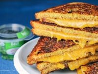 Crispy Basil Grilled Cheese Sandwiches