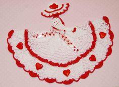 Crinoline Lady Hand Crochet Doily in White w Red by designedbyl www.etsy.com