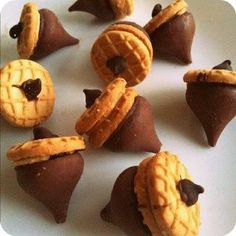 NutterButter cookies and Hersey Kiss Acorns - Bliss!