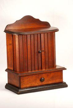 Antique Thread Caddy Spool Holder Sewing Box Cabinet Walnut with Drawer  ~♥~