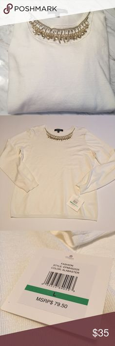 • NWT ellen tracy long sleeve • new with tags, ellen tracy long sleeve sweatshirt. super cute, all rhinestones on the neckline are in place. no flaws, never worn. same or next day shipping, smoke free home. Ellen Tracy Sweaters