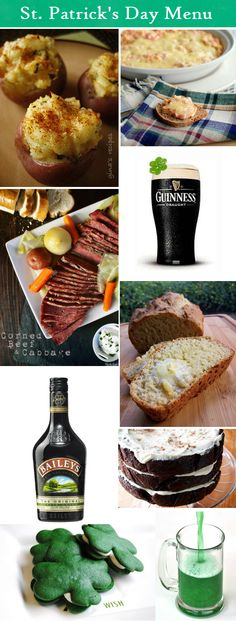 A delicious St. Patricks Day menu via http://www.partypail.com/ #StPatricksday #Irish