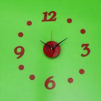 Nalepovacie nástenné hodiny 7A7, RED 3/12, 40cm Black Dots, Black Silver, Diy Clock, Cladding, Mirror, Mirrors