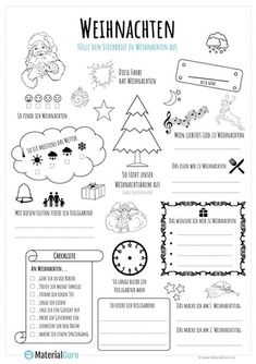 weihnachten kindergarten A free worksheet for Christmas, on which the children should fill out a Christmas fact sheet in a playful way. Kindergarten Portfolio, Kindergarten Lesson Plans, Kindergarten Math Worksheets, Primary School, Elementary Schools, Christmas Worksheets, Learn German, School Lessons, Special Education