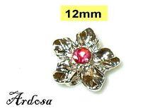 1 Verbinder Blume silber mit rosa Strassstein 4 von Schmuckmaterial