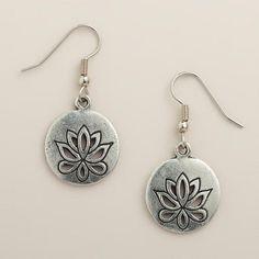 One of my favorite discoveries at WorldMarket.com: Silver Lotus Drop Earrings