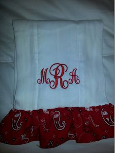 Monogramed burp cloth with Arkansas Razorback fabric trim