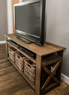 Diy Tv Stand For Dorm Room.DIY TV Stand A Little Craft In Your Day. Home Design Ideas Farmhouse Furniture, Rustic Furniture, Furniture Ideas, Diy Living Room Furniture, Garden Furniture, Antique Furniture, Pallet Furniture Tv Stand, Pallet Chair, Homemade Furniture