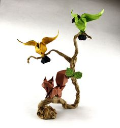 Birds squirrel by PassionOrigami