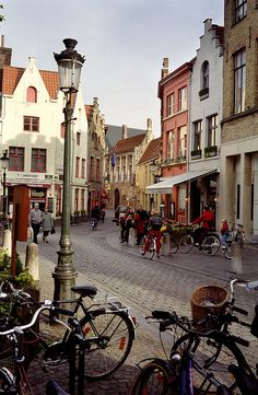 Discover Bruges by #bike ...  Bikes are allover in #Bruges. It's really fun.   http://www.hotelnavarra.com/en/info/1421/Bike-package.html