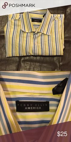 Men's dress shirt Perry Ellis XL men's dress shirt. Excellent condition***please allow one extra day shipping for dry cleaning Perry Ellis Shirts Dress Shirts