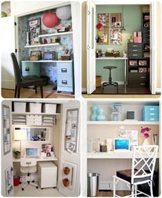 closet offices....if I had a closet, I would love a closet office!  Perfect for my world.