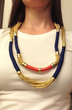 Colorful Wrapped Gold Rope Necklace by EugeniaAldenJewelry on Etsy