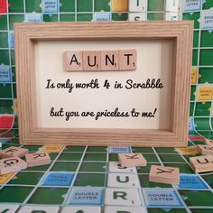 A gift for your Aunt. 💗 gift for aunt SarahLovesCraftsShop shared a new photo on Etsy Auntie Gifts, Cousin Gifts, Birthday Gifts For Aunt, Birthday Crafts, 90th Birthday, Birthday Quotes, Scrabble Letter Crafts, Scrabble Letters, Scrabble Tiles