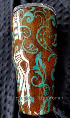 Hand painted Cowboy Boot tumbler/ Cowgirl / brown and turquoise / glitter tumbler / bling cup / horse lover / western wear gift / filigree Diy Tumblers, Custom Tumblers, Glitter Tumblers, Vaso Yeti, Glitter Cups, Silver Glitter, Tumbler Designs, Cowgirl Pictures, Tumbler Cups