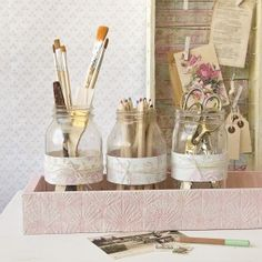 Shabby Chic Desk Décor Part 2: Desktop Storage with Mason Jars | Free Project from The Studio