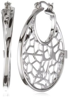 ELLE Jewelry Butterfly Pattern Sterling Hoop Earrings by ELLE Jewelry