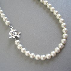 Bridal cherry blossom pearl necklace