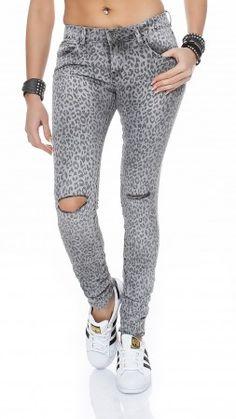 SKUTARI Luxuriöse Damen Destroyed Krempel Leopard Jeans Stretch Baggy Loose Fit Damen Jeans Hose Boyfriend Baggy