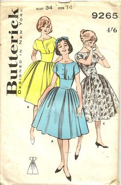 60s Vintage Butterick 9265 Fit N Flare Full Skirt Dress Different Necklines Sewing Pattern Size 14