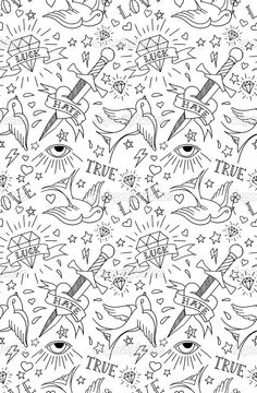 patrón de la vieja escuela del tatuaje - Ilustración de stock: 51059969
