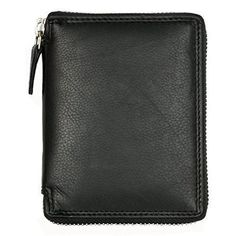 5e1b90d12e07 Men s Metal Zipper (Zip-around) Black Leather Wallet Kabana New  Kabana  Large