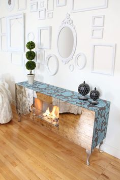 Vintage Fireplace, Flocked Velvet, Mirrored Front. Terra Flame Home, Flocked Velvet Fireplace