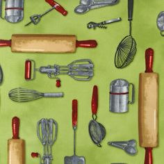 Kiss the Cook- Kitchen Gadgets- Vintage- Mary Thompson for Robert Kaufman Fabrics