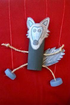 Manualitat infantil titella d'un llop. Titere lobo.