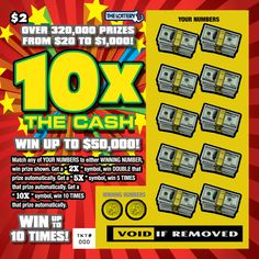 Win up to $50,000 with the new $2 game 10X THE CASH.