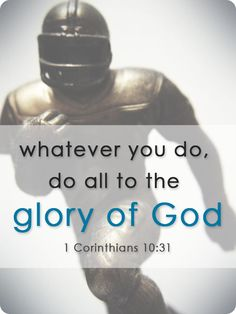 "Sports and the Christian Life // 1 Corinthians 10:31 tells us, ""When you eat or drink, whatever you do, do all to the glory of God."" If you watch or participate in sports, do it for the glory of God. (Continue reading: www.epm.org/blog/2013/May/15/sports-christian)"