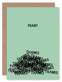 Thank you card, Many Thanks, Typography, Thanks Card, Funny Card, Greeting Card, Cool Card, Many Thanks Card, Unique Card, Friendship Card, Fun Thank you Card