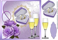 Lovely Engagemt Congratulations  on Craftsuprint designed by Ceredwyn Macrae - A lovely 8x8 app card front to make and give to any couple on there Engagement A lovely card with Beautiful Lilac roses and engagement ring , also has Champagne Glasses and one greeting tag left blank for your choice of words, - Now available for download!