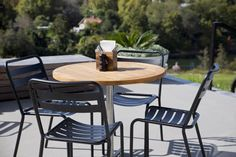 Available with any pedestal table or leaner base Hospital Table, Outdoor Dining, Outdoor Decor, Teak Table, Cafe Tables, Commercial Furniture, Hospitality, Outdoor Furniture Sets, Indoor