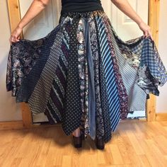 d903524ea4d Plus Size Long Skirt Recycled Necktie Skirt Silk Skirt Upcycled Clothes Repurposed  Mens Neckties Black Silver Gold Womens Size XL