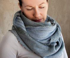 Aqua blue scarf felted cowl women neck warmer grey merino wool hood spring scarf cotton infinity cowl loop scarf - ready to ship by AureliaFeltStudio on Etsy