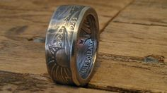 These rings start as silver Walking Liberty half dollars that I hand forge into rings.