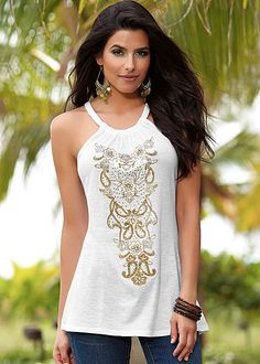 WHITE MULTI Embroidered tank top from VENUS available in sizes S-XL