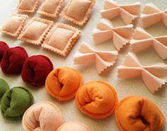 Felt Pasta Set Farfalle Noodles Felt Bow Tie by Helgamade on Etsy