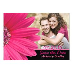 Pink Daisy Photo Wedding Save the Date Magnet