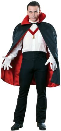 "ADULT SPOOKY VILLAGE SATIN VAMPIRE CAPE 43/"" ONE SIZE//REVERSIBLE"