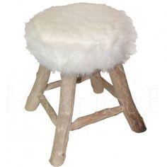 "Tabouret fourrure blanc ""Néandertal"" meuble house"