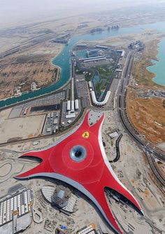 Ferrari World in Abu Dhabi...one hell of a ride in the world's fastest roller coaster! The Formula 1 Grand Prix Circuit at Yas Marina is just next door.